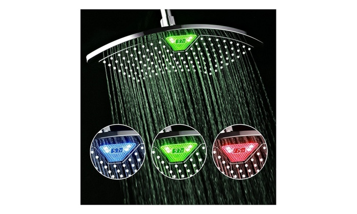 12 inch All-Chrome Rainfall-LED-Shower-Head with Color-Changing
