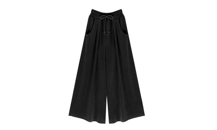 Women's Solid Mid Rise  Drawstring Closure Simple Ninth Pants