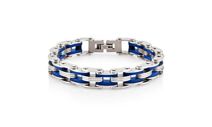 Groupon Goods: Men's Stainless Steel Dark Blue Rubber Link Bracelet - 8 in