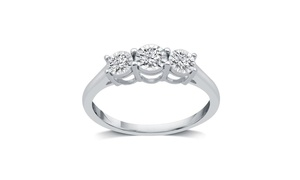 1/4 CTTW Diamond Three Stone Engagement Ring in 10K White Gold By DeCarat
