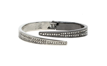 Lova Jewelry Sparkly Clear Crystals Silver Tone Solid Metal Bangle 6fde3aba-dbc0-4feb-abfa-3207f99117cb