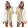 Womens Winter Long-Sleeved Solid Color Back Hole Knit Sweater