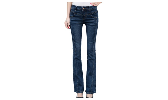 Women's Cotton Classic Fit Midrise Boot Cut Denim Jeans