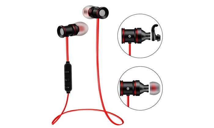 Wireless Sports Bluetooth V4 1 Headphone Earbuds Headset Earphone Magnet In Ear Groupon