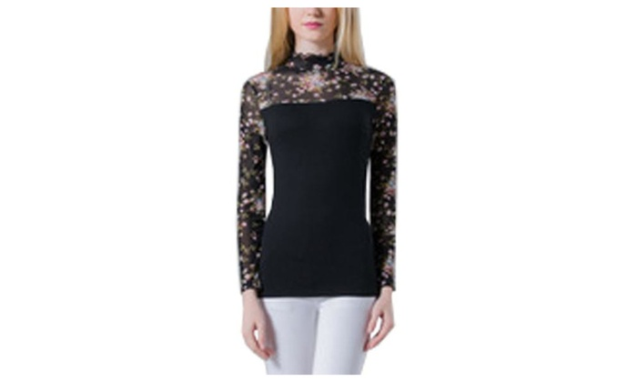 Women's Floral Prints High Neck Long Sleeve Mesh Casual Tee Tops