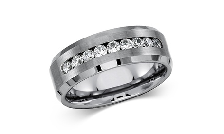 Men's Solid Titanium Beveled Edge Center Cz Comfort Fit Wedding Band