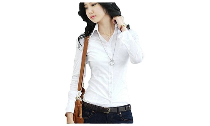 POGT Women's Long Sleeve Button Down Shirts Women Slim Fit Casual Blouse