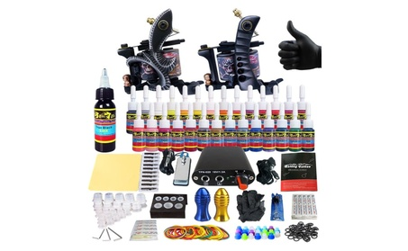 Complete Tattoo Machine Kit - 2 Profi Gun Set with 28 Ink Power Supply b3bb5439-0f23-4fcc-8a35-8ac25a5b025c