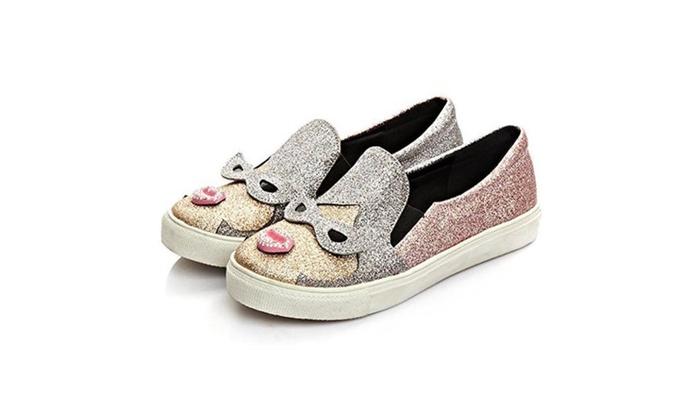 Women Cute Fashion Sneaker Glitter Slip-On Loafer Casual Shoes