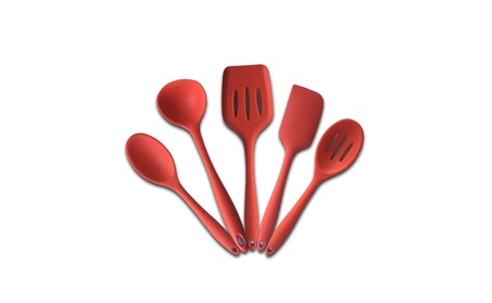 Silicone Cook and Bake Kitchen Utensils - Red, Set of 5, Non-Toxic 49419007-8cf8-4a53-be7a-d550a8bf0d80
