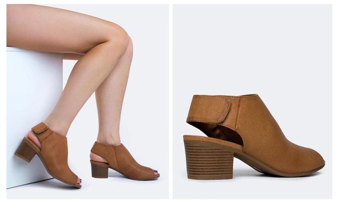 Vegan Leather Peep Toe Booties - Tan