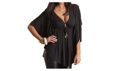 Women's Loose V-neck Batwing Sleeve Blouse Tops de5d6d05-1696-480f-bdd8-5fd4c1560792