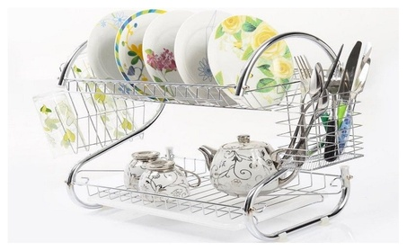 2Tiers Kitchen Drying Rack Drainer Dryer Tray Cutlery Holder Organizer f1c77ea2-de60-41b8-bf2d-aec40e8ca9ec