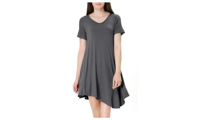 Women's Short Sleeve Casual Loose T-Shirt Dress