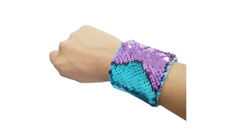 Two-color Reversible Sequin Hook and Loop Fastener Cuff Bracelet ab7be5dc-c2f4-4777-b40a-6d63179beb66