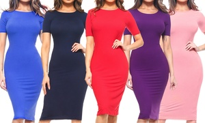 Style Clad Women's Bodycon Midi Dress (Plus Sizes Available)