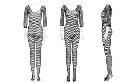 Leg Avenue Women's One Size Long Sleeved Ring Fishnet Bodystocking Sexy Lingerie