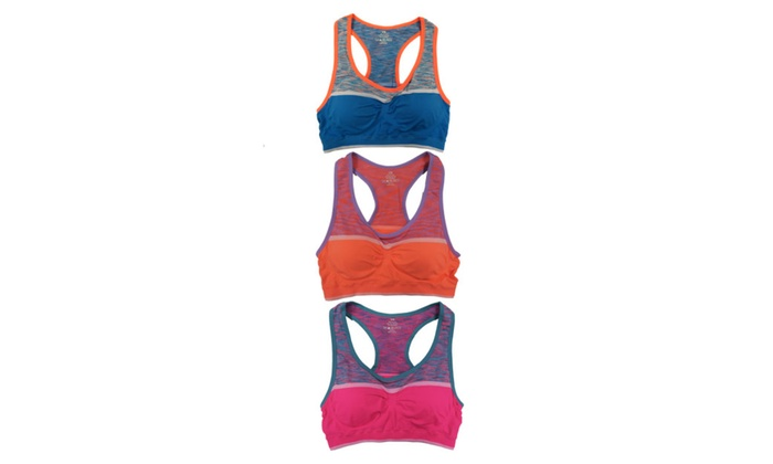 Women 3 Pack Space Dye Matching Padded Athletic Sports Bras or Capris
