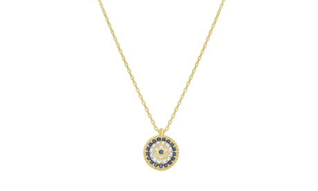 Sterling Silver CZ Evil Eye Round Cable Chain Necklace a3af04e2-91a5-49f6-9e14-572152d1092c