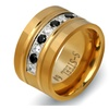 Zircon Channel Setting 316L Stainless Steel Ring for Women