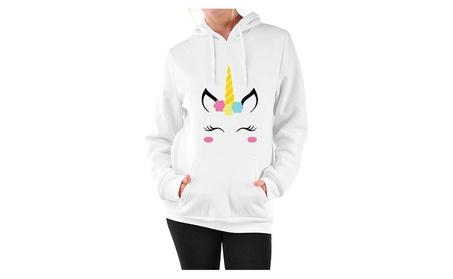 Womens Black Long Sleeve Pullover Hoodie Cute Cartoon Fox Sweatshirt 51707900-0896-4081-94f6-5b8fe20268ba
