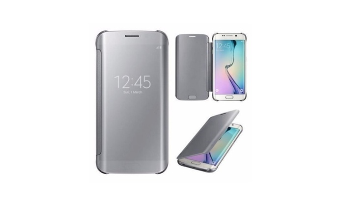 samsung galaxy s6 edge clear s view mirror flip cover case silver