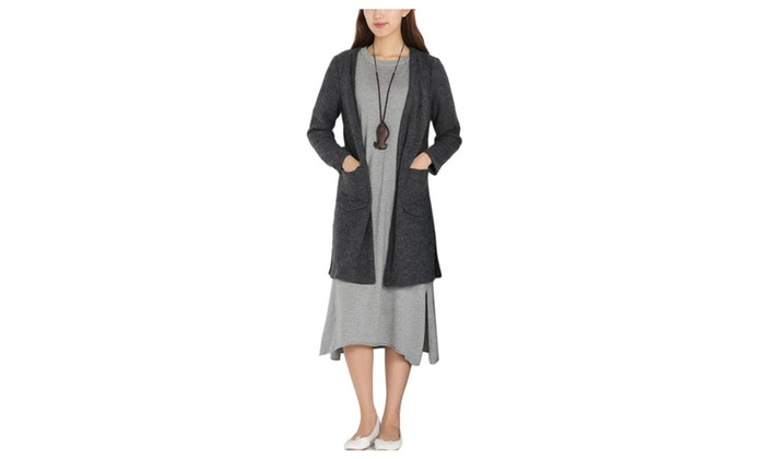 Women's Casual Solid Long Sleeve Buttons Front Cardigan Outerwear