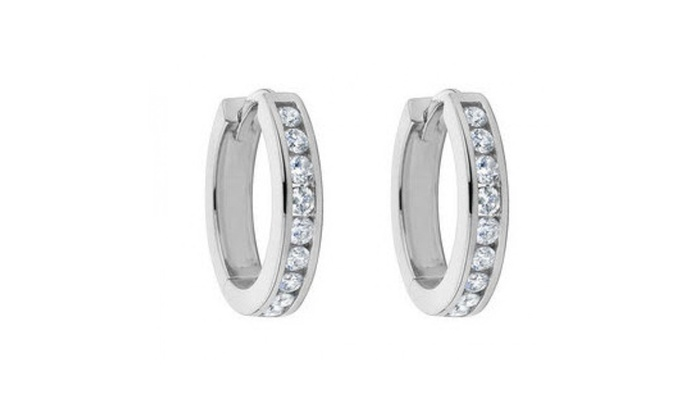 1 00 Ct Las Round Cut Diamond Hoop Huggie Earrings