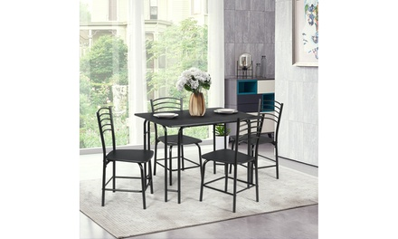 5 Piece Dining Set Home Kitchen Table and 4 Chairs with Metal Legs Modern Black
