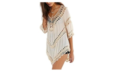 Women's V Neck Solid Hollow Out Knit Splicing 3/4 Sleeve Cover Ups cb4f8a60-e5d0-4212-8c96-0ecaa7be54f1