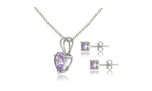 """1.9ct TGW Amethyst Heart Solitaire Pendant & Stud Earrings Set, 18"""""""
