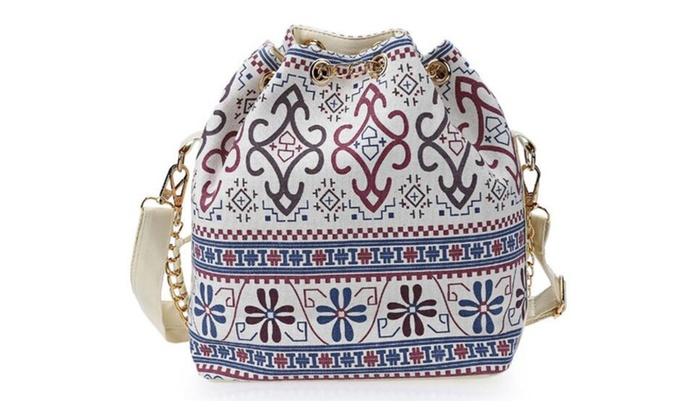 Women Bag National Shoulder Pearl Chain Drawstring