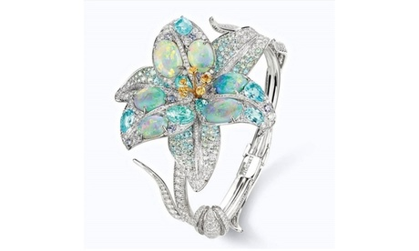 Women 925  Silver Two Tone Flower Filled Oval White Opal Ring