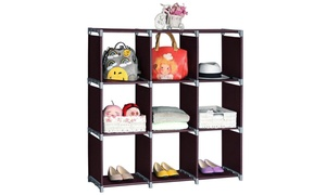 3-Tier Storage Organizer with 9 Cabinet Cubes & 3 Top Storage Shelves