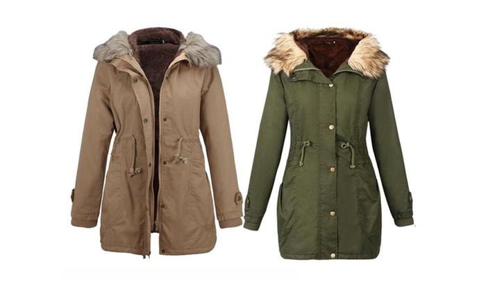 Women's Winter Fleece Faux Fur Hooded Jacket
