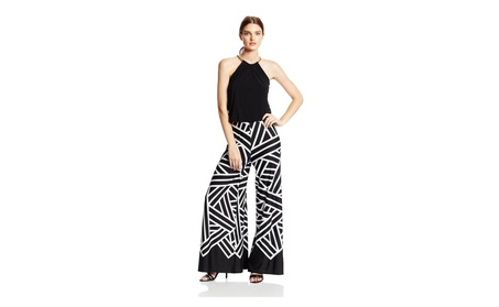 MSK Women's Petite Halter Necklace Printed Jumpsuit, Black, Medium bc28c0e8-bda5-4fd9-bdb0-41d1d6b25a76