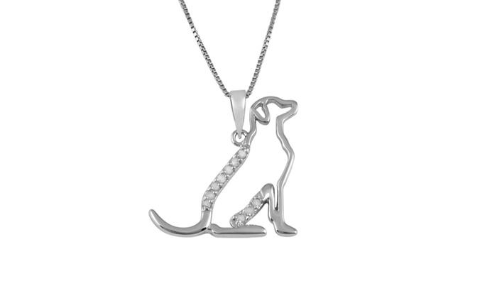 Groupon Goods: .10 cttw Sterling Silver and Diamond Labrador Retriever Pendant