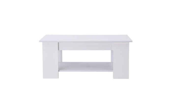 W Hidden Storage White Modern Wood Lift Top Coffee End Table