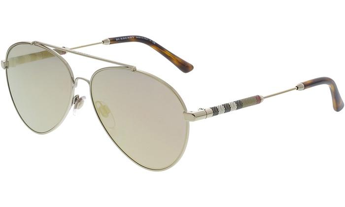 ce46678971dd Burberry Women's Mirrored BE3092Q-11674Z-57 Pink Aviator Sunglasses ...