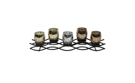 Endearing 5 Glass Cup Metal Candle Holder aa52eee6-7b4d-4454-83ae-43f359a3e6d1