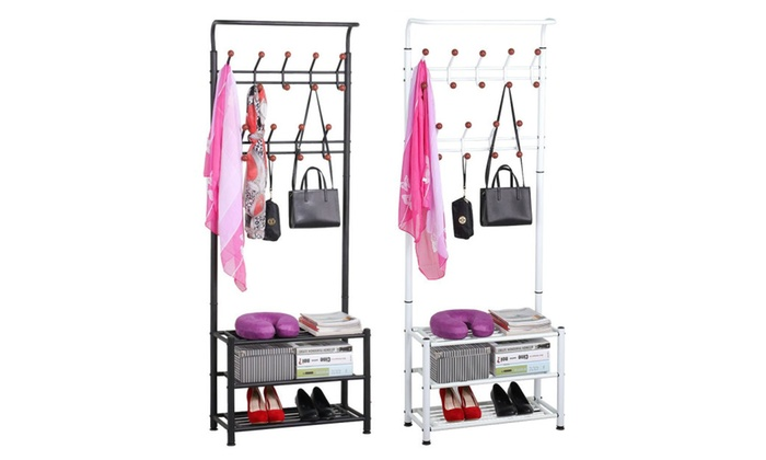 Topeakmart Blk/White Metal Storage Bench Coat Hanger Clothes Shoe Rack ...