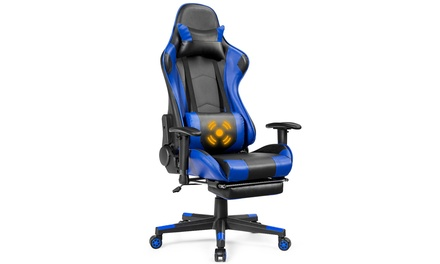 Costway Gaming Recliner Racing Chair w/ Lumbar Support & Footrest Blue