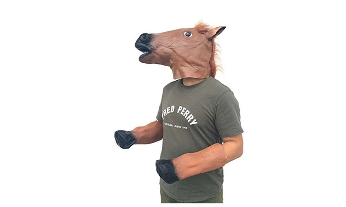 head horse mask and horse foot rubber for halloween masquerade party