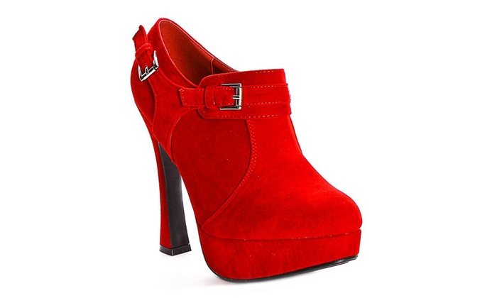 Red Faux Suede Buckle Platform Women's Booties Shooties