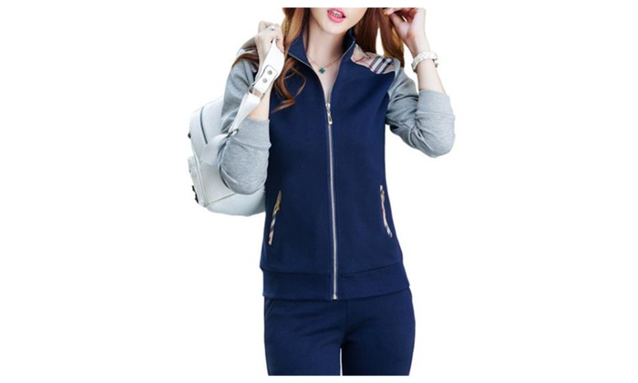 Women's Running Straight Casual Fashion Zip Closure Tracksuit