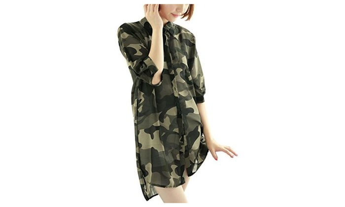 Lady Elbow Sleeves Button Front Camo Print Chiffon Tunic Shirt - Army Green / X-Small / US 2