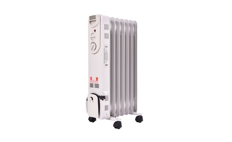 1500W Electric Oil Filled Radiator Space Heater 5-Fin Thermostat Room