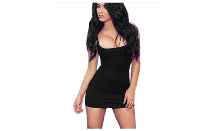 5a056d40e96 Women Sexy Bodycon Dress Solid Mini Dresses Without Sleeves