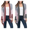 Women's Casual Three-color Stitching Tops Long Sleeve Cardigan Coat