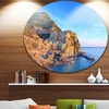 Manarola Village Cinque Terre Italy' Extra Large Seashore Metal Circle Wall Art